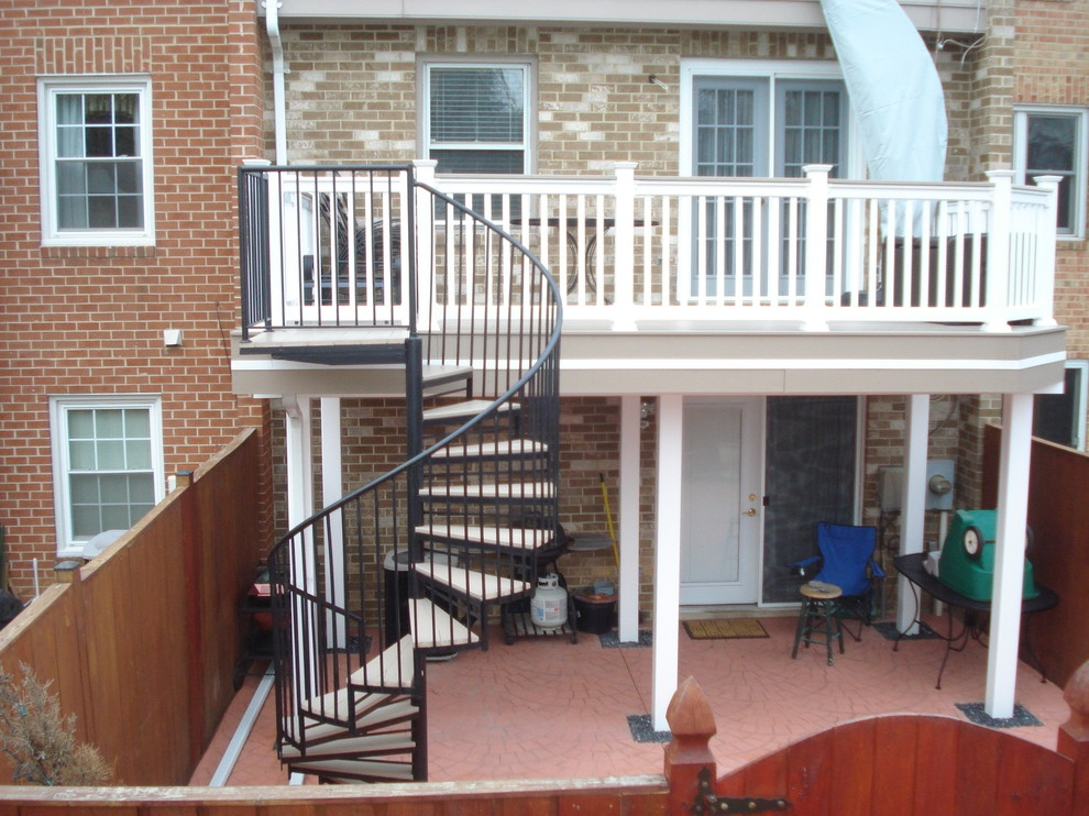 Deck Spiral Staircase Traditional Deck Baltimore By | Spiral Staircase Outdoor Deck | Outside Deck | Built Spiral Stair | Balcony Outdoor | Log | 3 Storey