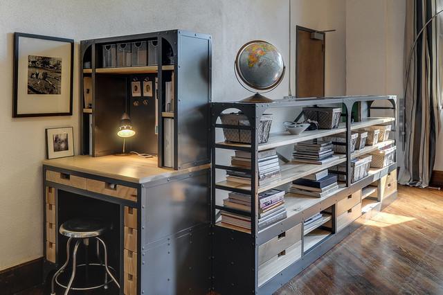 Custom Metal Wood Shelf Desk With Drawers