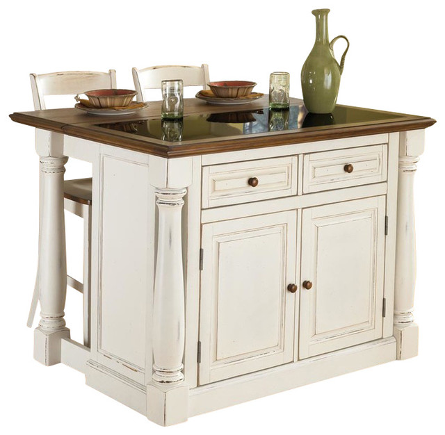 Monarch Antiqued White Kitchen Island And 2 Stools Farmhouse