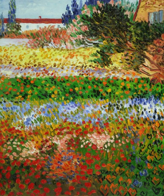 kitchen tables art van two person table gogh - flowering garden with path modern paintings ...
