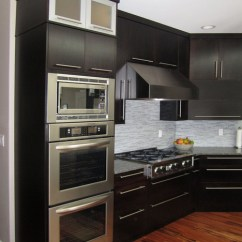 Kitchen Aid Electric Range Sink Rug View Of The Double Wall Ovens, Built-in Microwave, Gas ...