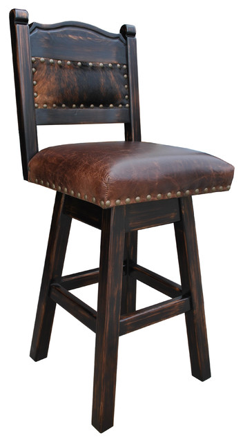 "Hacienda Swivel Bar Stool, Cowhide, 30"" Bar Height"
