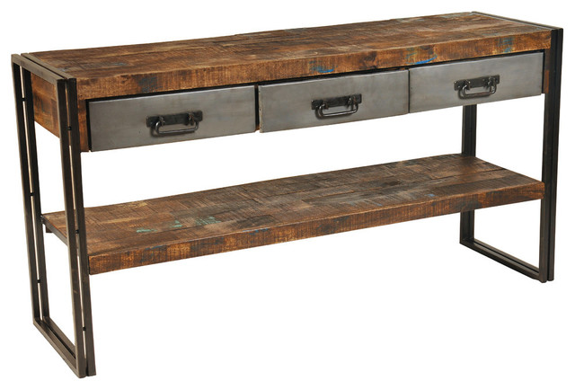 sofa console tables wood leather lounge ideas reclaimed and metal 3 drawers 1 shelf table