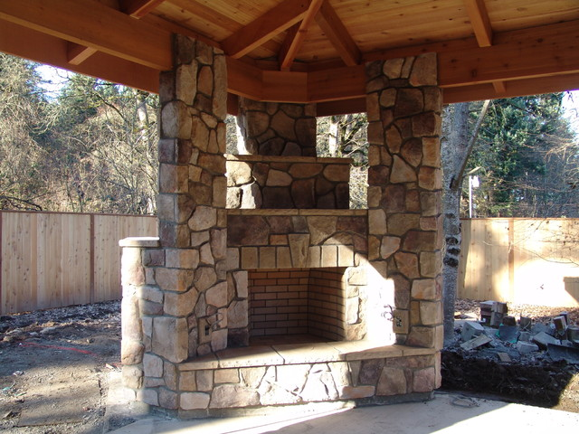Outdoor Fireplace with BBQ Grill and Pizza Oven  Traditional  Portland  by Brown Bros Masonry