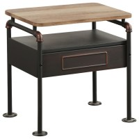 Tori Two-Tone Nightstand, Sandy Gray and Antique Oak ...