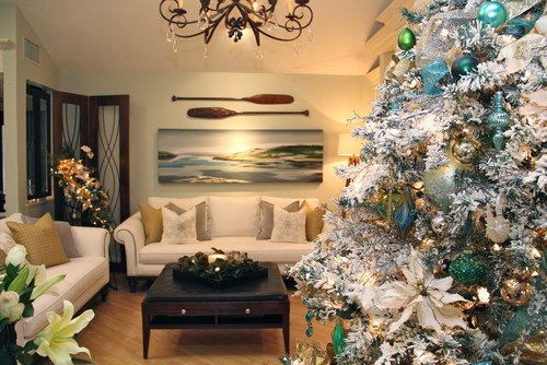 White Flocked Christmas Tree with Peaceful Blue Touches
