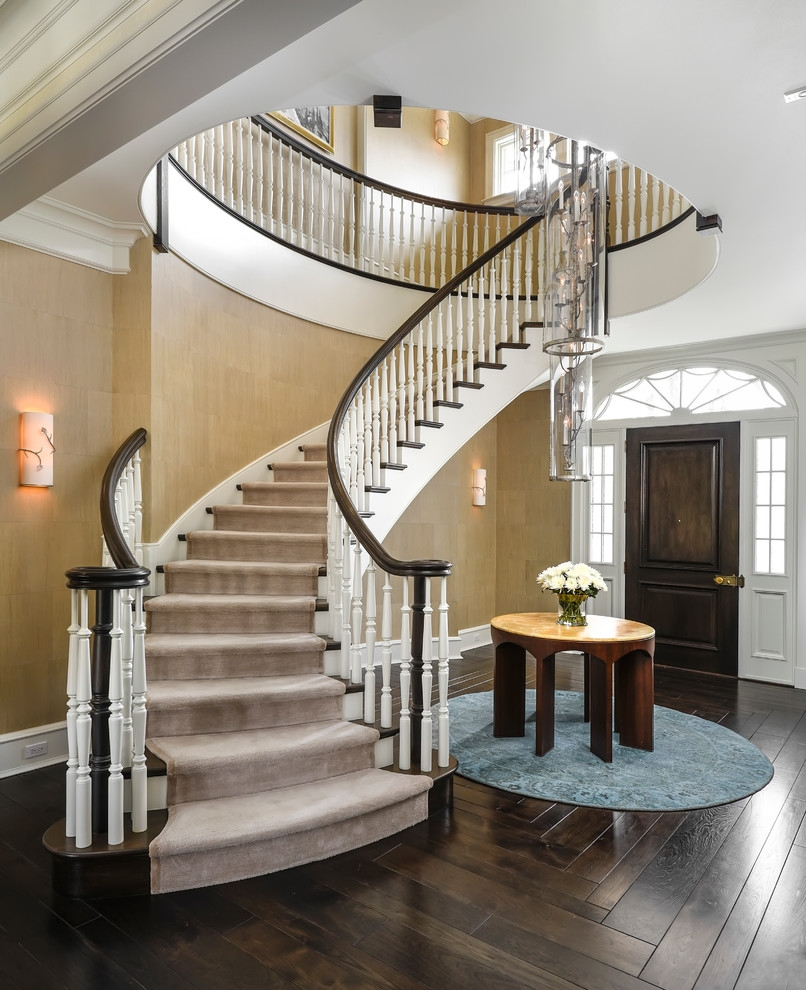 New Traditional Interiors Traditional Staircase Chicago By   Round Staircase Designs Interior   Classic   Wooden   Elegant   Showroom   Round Shape Round