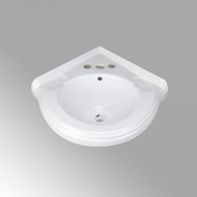 portsmouth 22 corner wall mounted bathroom sink in white with overflow