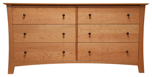 Armstrong 6 Drawer Double Dresser Natural Cherry  Transitional  Dressers  by Vermont Made