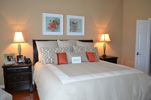 neutral master bedroom with