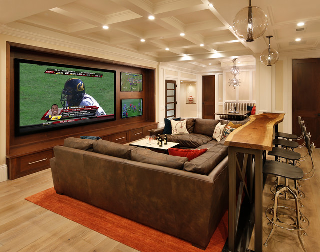 Family Room, Home Theater and Bar traditional-home-theater