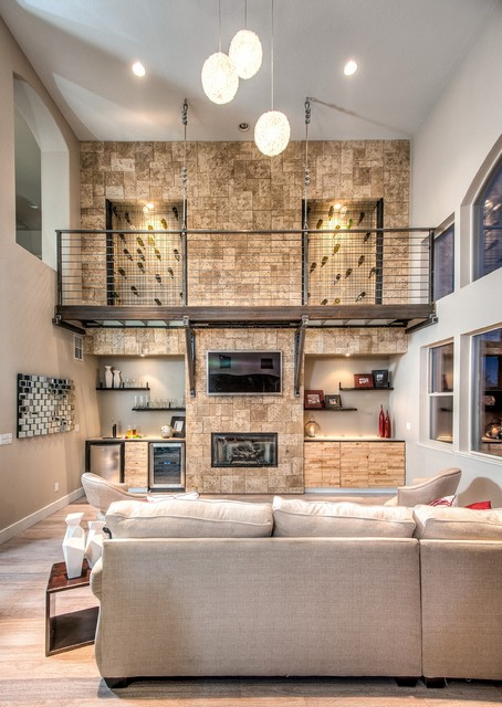 stone accent wall contemporary