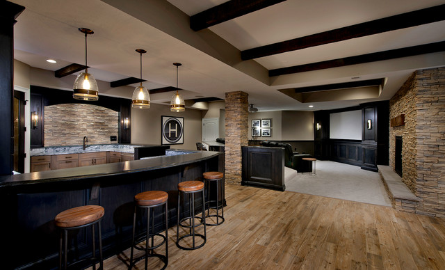 Basement remodel features home theater in Cranberry