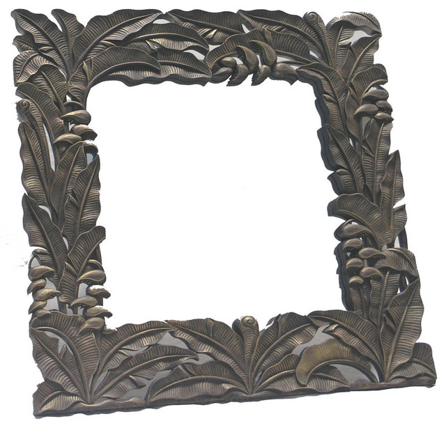 Hand Carved Wood Square Frame with Mirror  Tropical