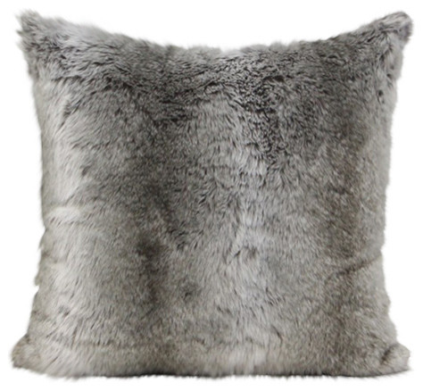 Luxury Gradient Gray Faux Fur Pillow 22x22