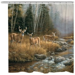 Tiger Print Dining Chairs World Market Office Chair Wild Whitetail Deer Family Shower Curtain - Contemporary Curtains By Laural Home