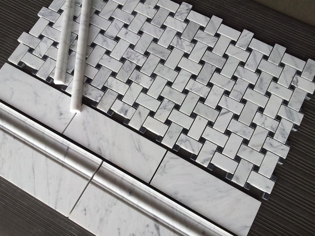 Carrara Basketweave Bianco Marble Collection traditional-bathroom
