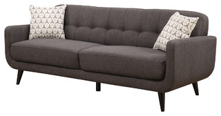 Crystal Upholstered Mid-Century Tufted Sofa With 2 Accent Pillows, Charcoal