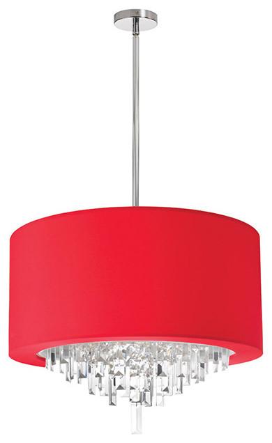 Dainolite Jas 196c Pc 927 6 Light Crystal Chandelier Finish Red Contemporary