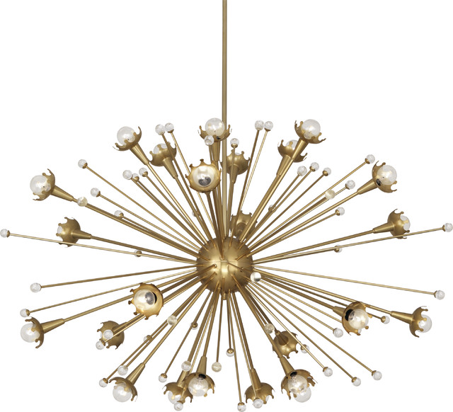 Robert Abbey Jonathan Adler Large Sputnik Chandelier Antique Brass Contemporary Chandeliers