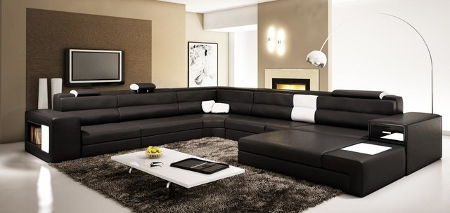 Black Sectional Set With 2 Decorative Lights With Adjustable