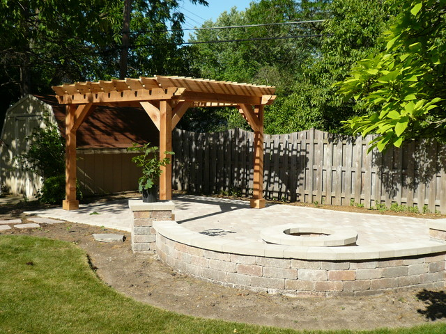 wood lawn chairs sleeper chair folding foam bed full size pergolas and pavers - traditional patio chicago by barnett construction