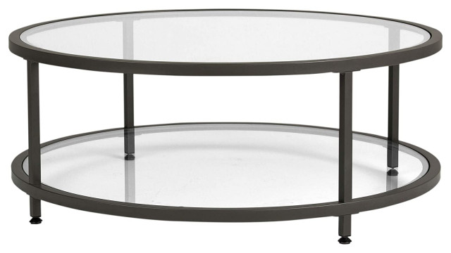 modern coffee table pewter metal frame with tempered glass top round