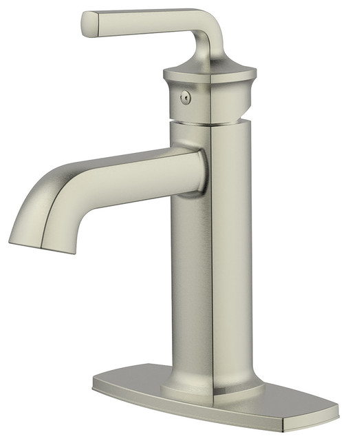 chesapeake single handle bathroom faucet with pop up drain assembly brushed nic