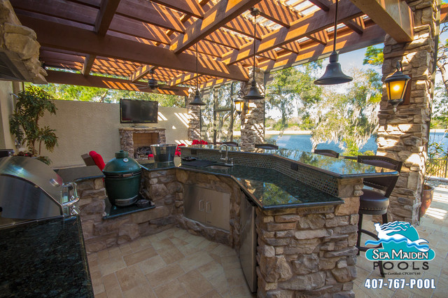 2 tier kitchen island quartz countertops cost tuscan style outdoor living space - pergola ...