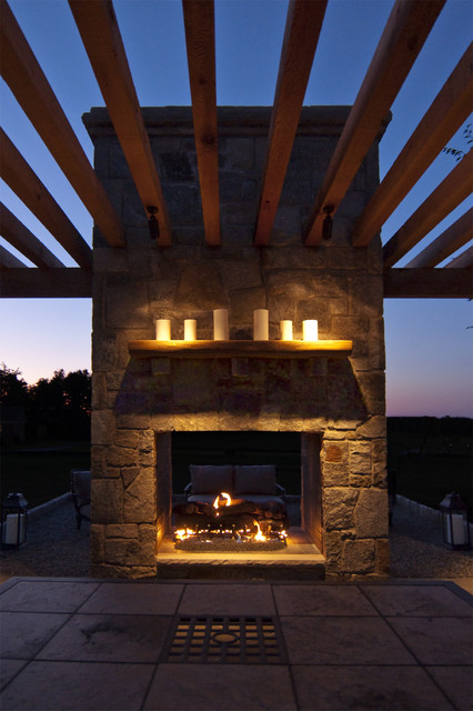 Cedar Pergola Built Into Outdoor Fireplace Traditional