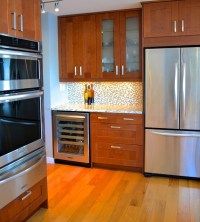 Grimslov (IKEA) shaker cabinets in white and medium brown ...