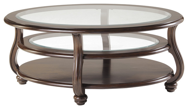 ashley traditional wood and glass coffee table dark brown