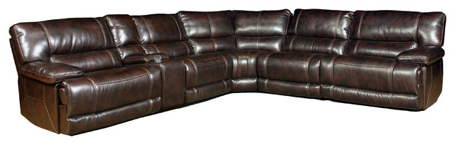 parker house pegasus 6 piece set power recliner sectional nutmeg