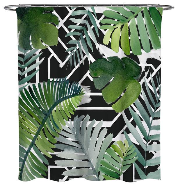 oliver gal olivergal introspect palm leaves black shower curtain 71 x74