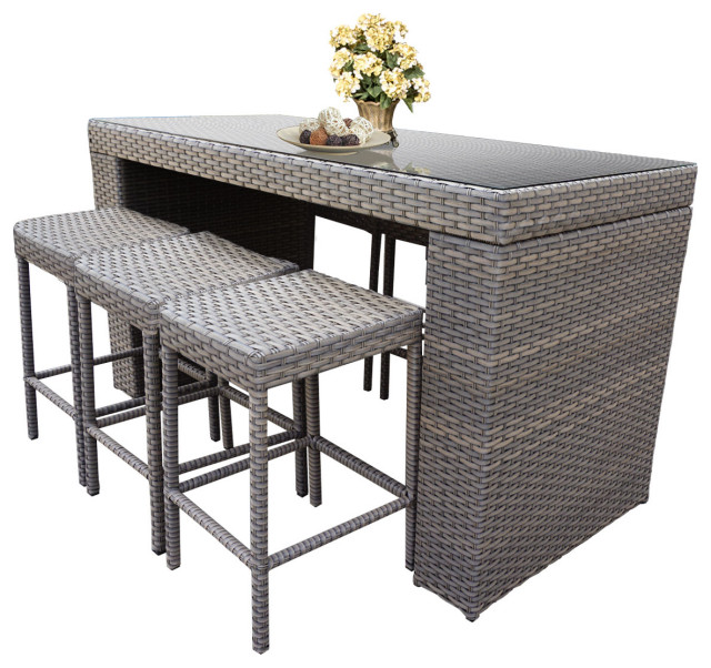 bar table set backless barstools 7 piece wicker patio furniture grey stone