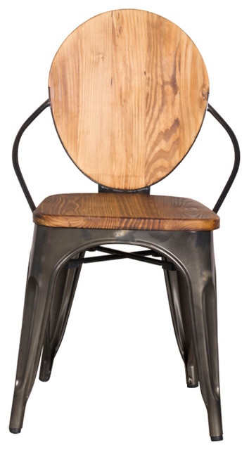 industrial dining chair ikea side chairs fine mod imports metal walnut by bisonoffice