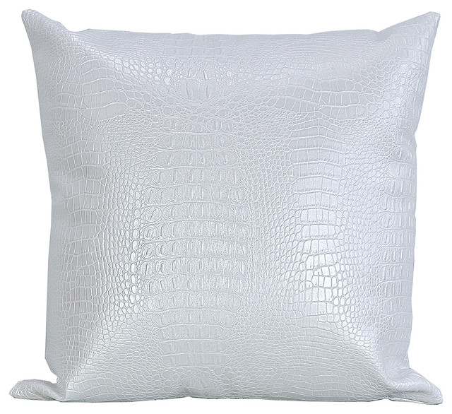 Croc Faux Leather Decorative Throw Pillow Modern
