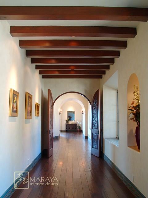 Spanish Mission Revival Hall  Rustic  Hall  Santa