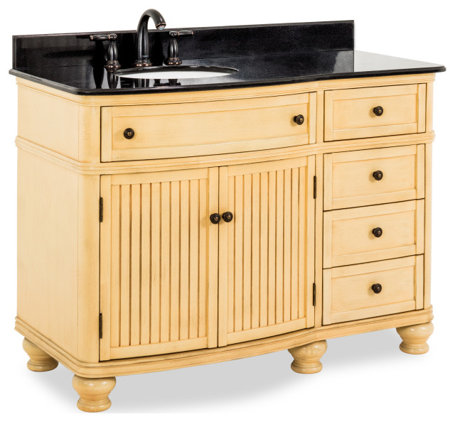 48 Buttercream Vanity Curved Front Black Granite Top Offset Bowl Traditional Bathroom Vanities And Sink Consoles By New York Hardware Online