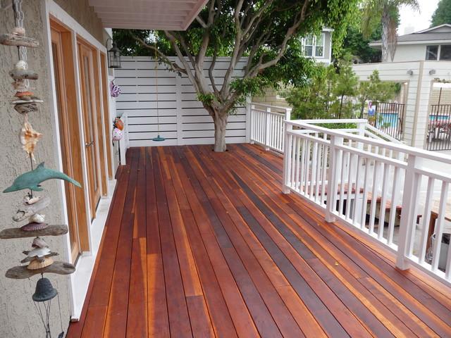 Redwood Deck and Railings Manhattan Beach  Beach Style
