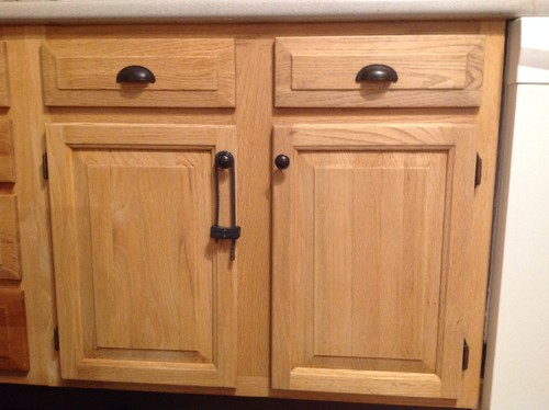 Two-tone Oak Kitchen Cabinets Dated Oak Cabinets Once Again