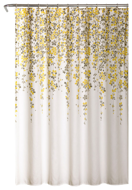 weeping flower shower curtain yellow gray 72x72