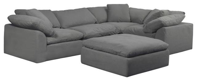sunset trading cloud puff 5 piece slipcovered modular l shaped sofa gray