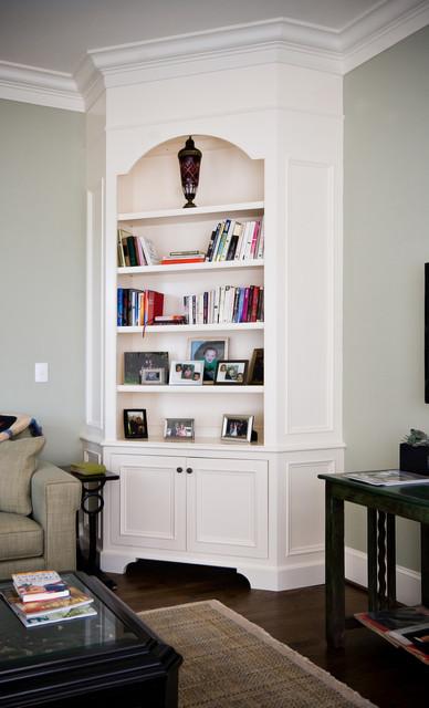 Painted Corner Cabinet  Living Room  Charleston  by Hostetler Custom Cabinetry
