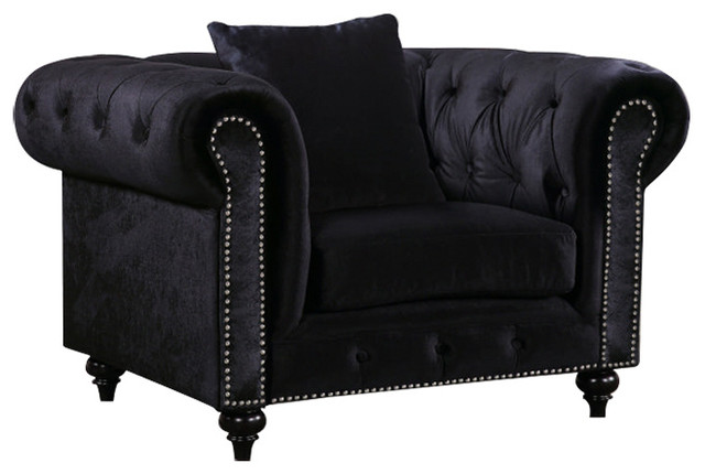 black velvet chair student desk chesterfield traditional armchairs and accent chairs by meridian furniture