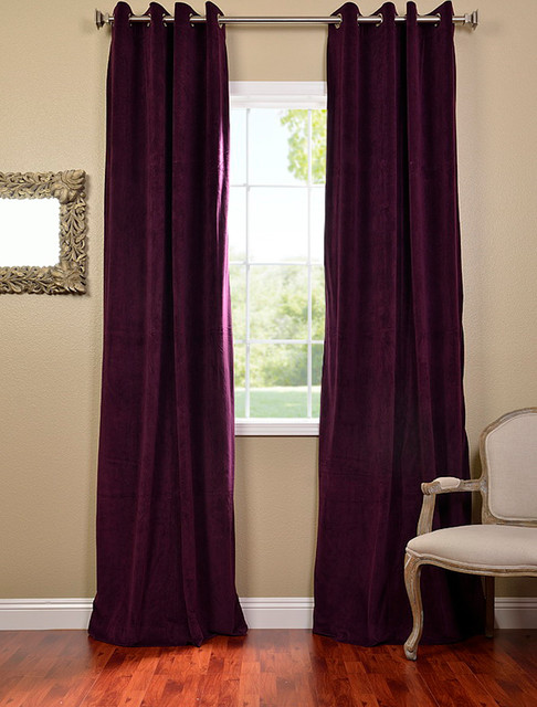 Eggplant Grommet Velvet Blackout Curtains & Drapes Victorian