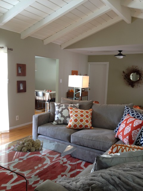 Orange and Grey Living Room  Eclectic  Living Room  San Francisco  by Found Design