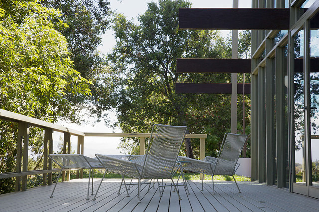 hanging chair kids graco high blossom mid century modern outdoor deck - los angeles by david lauer photography