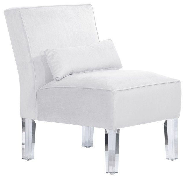skyline furniture accent chairs couch chair set armless chair, velvet white - contemporary armchairs and by ...
