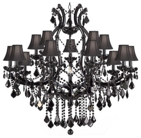 Jet Black Chandelier Crystal With Shades Traditional Chandeliers